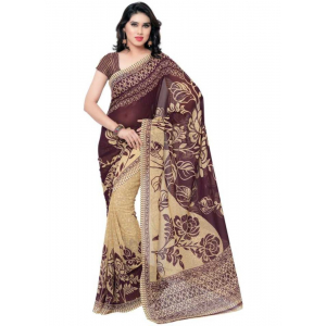 Printed Faux Georgette Wine Color Saree