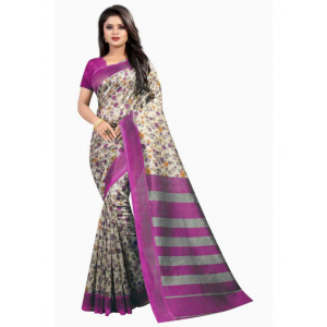 Pink And White Color Printed Art Silk Saree With Blouse