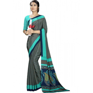 Sky Blue And Green Color Printed Silk Crepe Saree With Blouse