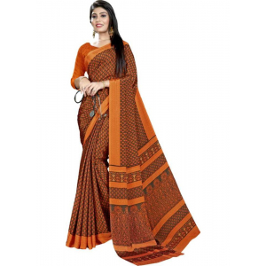 Orange Color Printed Silk Crepe Saree With Blouse