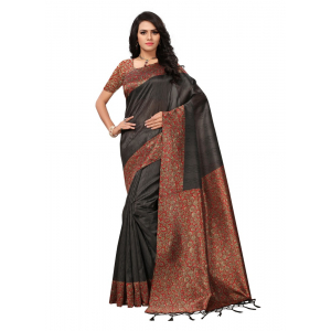Brown Color Printed Mysore kalamkari Silk with jhalor Saree With Blouse