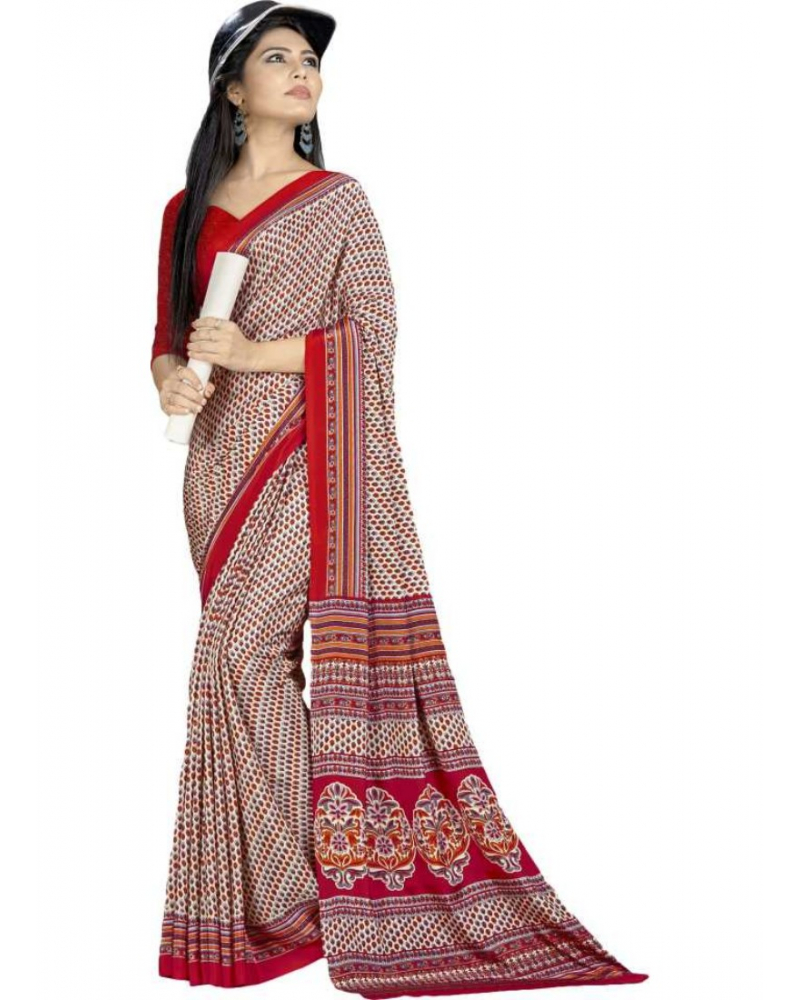 Cream And Red Color Printed Silk Crepe Saree With Blouse