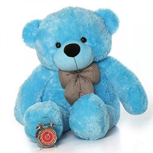 80Cm Blue Teddy With Tie - 3ft