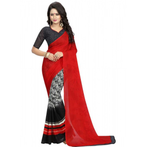 Red And Black Color Printed Georgette Saree With Blouse