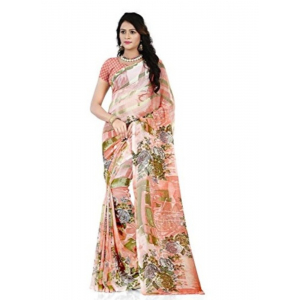 Printed Faux Georgette Orange Color Saree