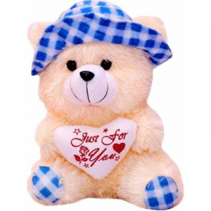 30Cm Cap Teddy With Small Heart - Blue