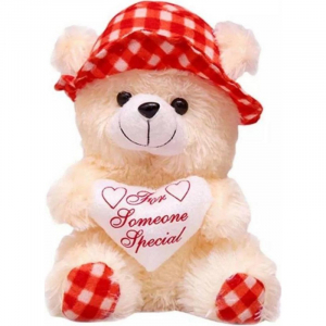 30Cm Cap Teddy With Small Heart - Red