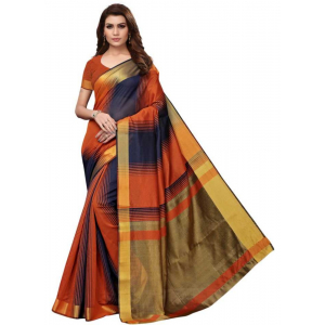 Orange And Navy Blue Color Printed Cotton Silk Saree With Blouse