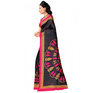 Black and Rose Color Printed Bhagalpuri Silk Saree With Blouse