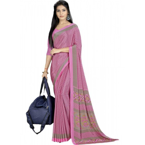 Pink Color Printed Silk Crepe Saree With Blouse