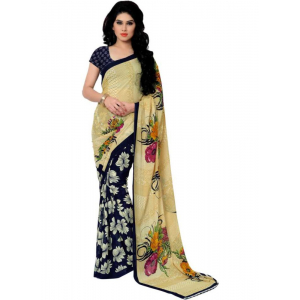 Printed Faux Georgette Blue Color Saree