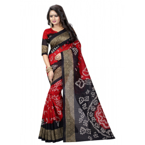 Red And Blue Color Printed Bhagalpuri Silk Saree With Blouse