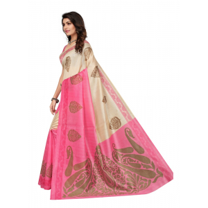 Pink Color Printed Bhagalpuri Silk Saree With Blouse