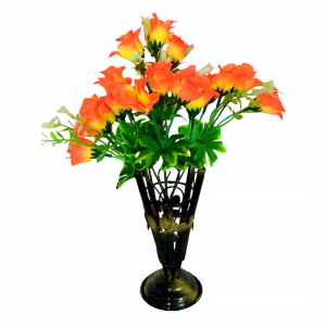 Iron Vase with Artificial Plastic Flower (1 Piece)