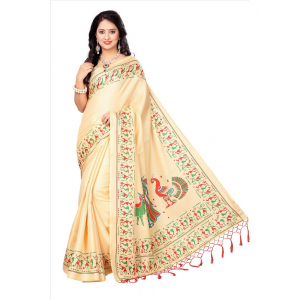 Sandal Color Printed Khadi Silk Jhalor Saree With Blouse