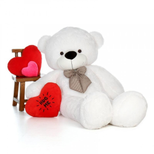 80Cm White Teddy With tie - 3ft