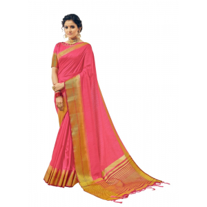 Pink Color Jacquard Nylon Silk Saree With Blouse