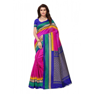 Pink And Blue Color Printed Bhagalpuri Silk Saree With Blouse