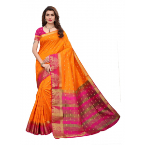 Orange Pink Color Jacquard Tussar Silk Saree With Blouse
