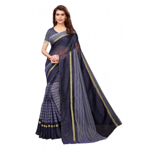 Navy Color Printed Cotton Silk Saree With Blouse