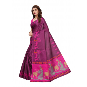Purple Color Printed Khadi Silk Saree With Blouse