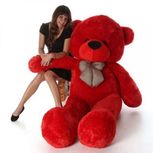 80Cm Red Teddy With Tie - 3ft