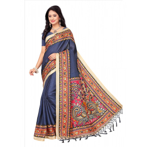 Blue Color Printed Khadi Silk Jhalor Saree With Blouse