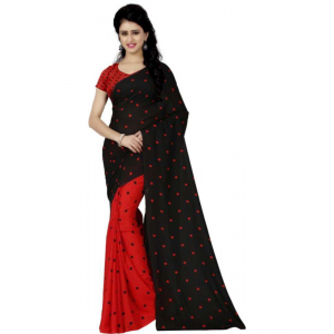 Printed Faux Georgette Red black Color Saree