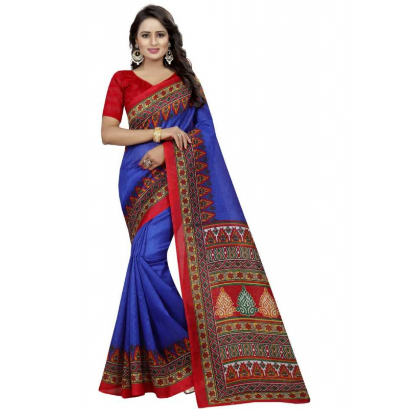 Blue And Red Color Printed Bhagalpuri Silk Saree With Blouse