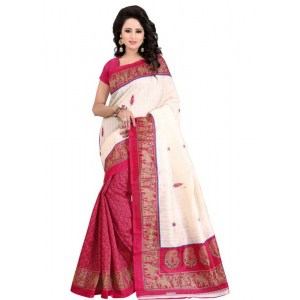 Pink And White Color Printed Bhagalpuri Silk Saree With Blouse