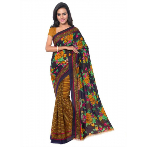Printed Faux Georgette Gold Color Saree