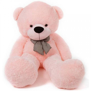 80Cm Pink Teddy With Tie - 3ft