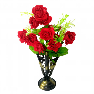 Iron Vase with Rose bunch (1 Piece)