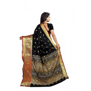 Black Color Weaving Cotton Silk Saree With Blouse