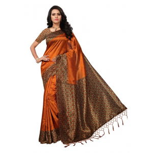 Orange Color Printed Mysore kalamkari Silk with jhalor Saree With Blouse