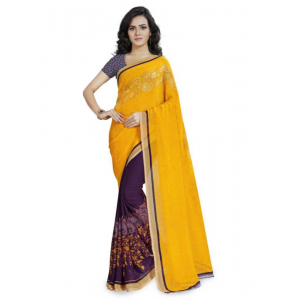 Printed Faux Georgette Yellow Color Saree