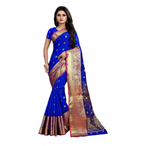 Blue Color Weaving Cotton Silk Saree With Blouse