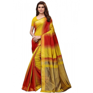 Yellow And Red Color Printed Cotton Silk Saree With Blouse