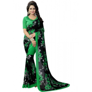 Black And Green Color Printed Georgette Saree With Blouse
