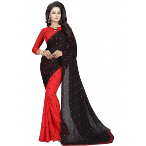 Black And Red Color Printed Georgette Saree With Blouse