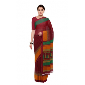Maroon Color Printed Georgette Saree With Blouse