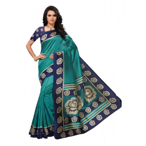 Turquoise Color Printed Mysore kalamkari Silk Saree With Blouse