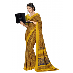 Yellow Color Printed Silk Crepe Saree With Blouse