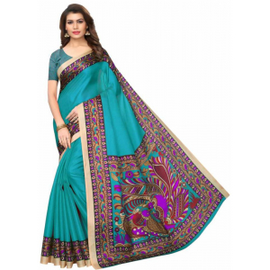 Rama Color Printed Khadi Silk Saree With Blouse