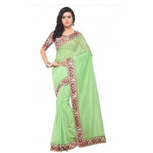 Light Green Color Printed Chanderi Saree With Blouse