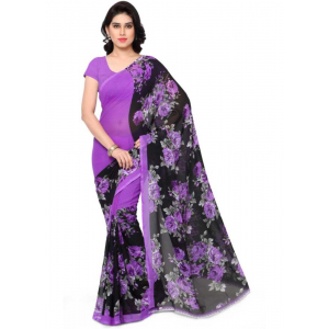Printed Faux Georgette Purple Color Saree
