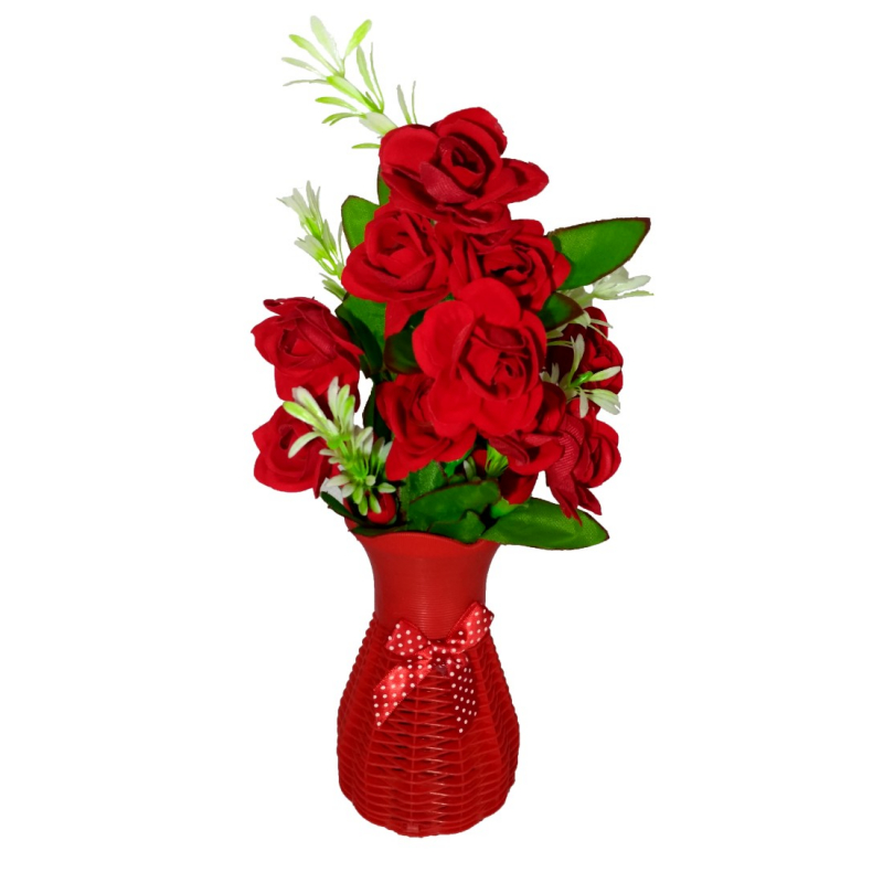 Plastic Vase with Rose bunch Red (1 Piece)