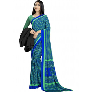 Green And Blue Color Printed Silk Crepe Saree With Blouse