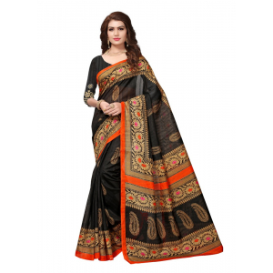 Black Color Printed Bhagalpuri Silk Saree With Blouse