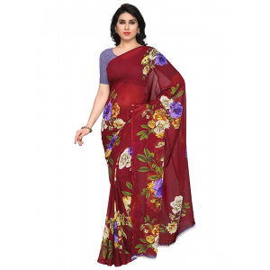 Printed Faux Georgette Maroon Color Saree